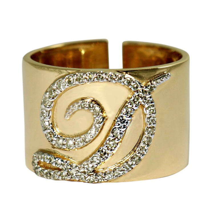 14KT Gold Diamond Initial Cigar Ring, Custom, NEW