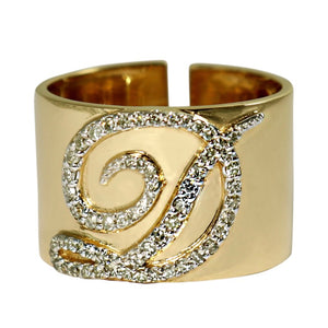 Load image into Gallery viewer, 14KT Gold Diamond Initial Cigar Ring, Custom, NEW