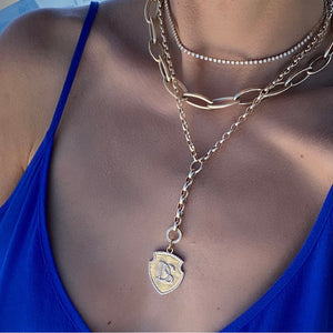 Load image into Gallery viewer, 14KT Gold Diamond Custom Initial Shield Pendant Charm, Best Seller!