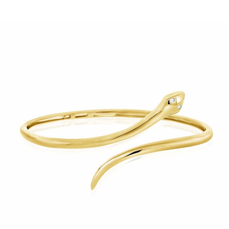 14KT Gold Snake Bangle Bracelet, NEW