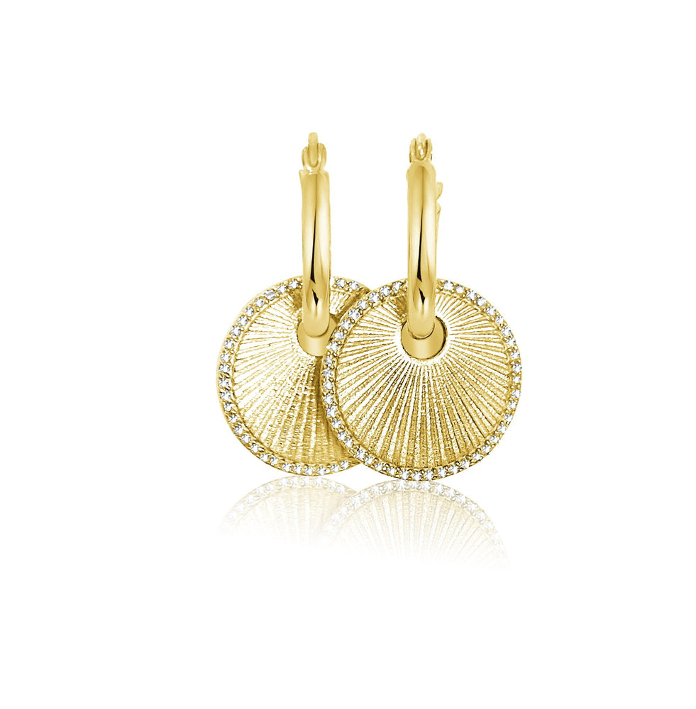 Load image into Gallery viewer, 14KT Gold Diamond Disk Charm Earrings, NEW