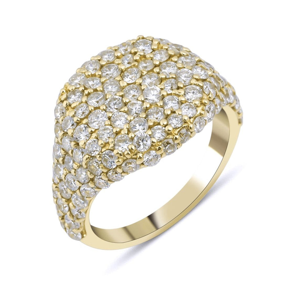 14KT Gold Diamond Cushion Pinky Ring, Best Seller!