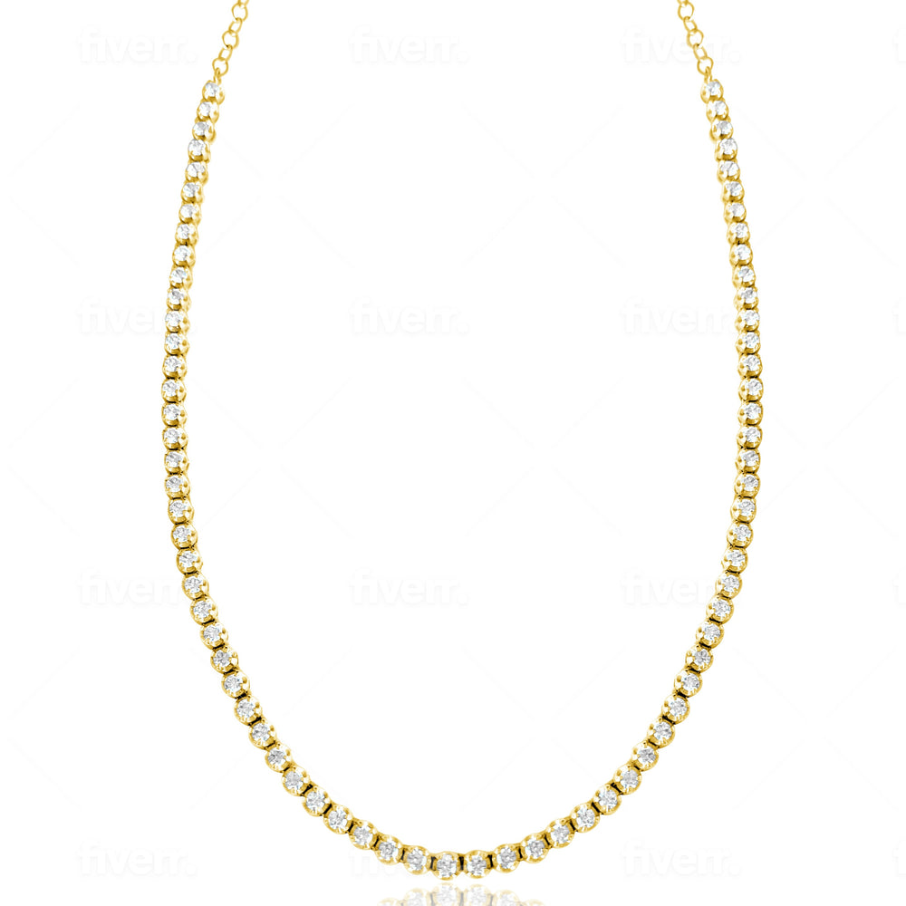 14KT Gold Diamond Prong Set Tennis Necklace, NEW