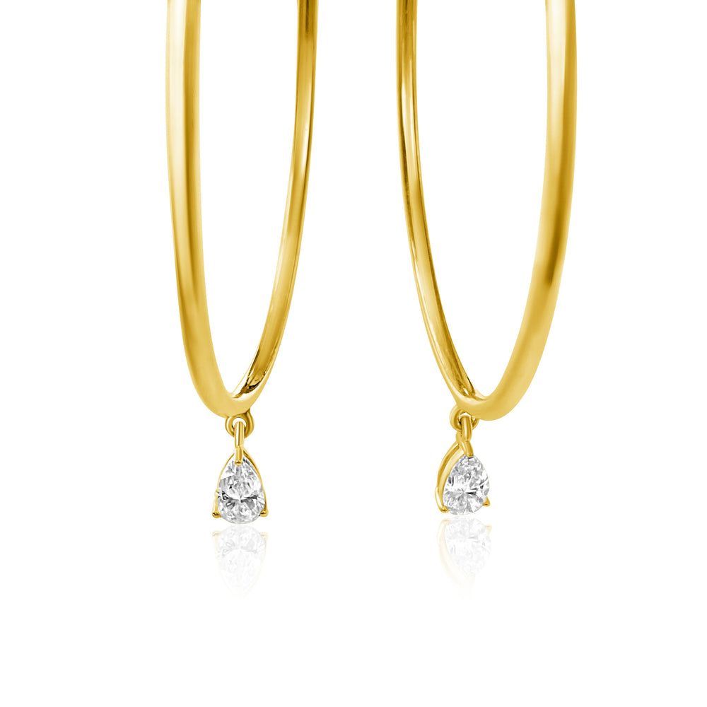 14KT Gold Pear Diamond Hoop Earrings, NEW