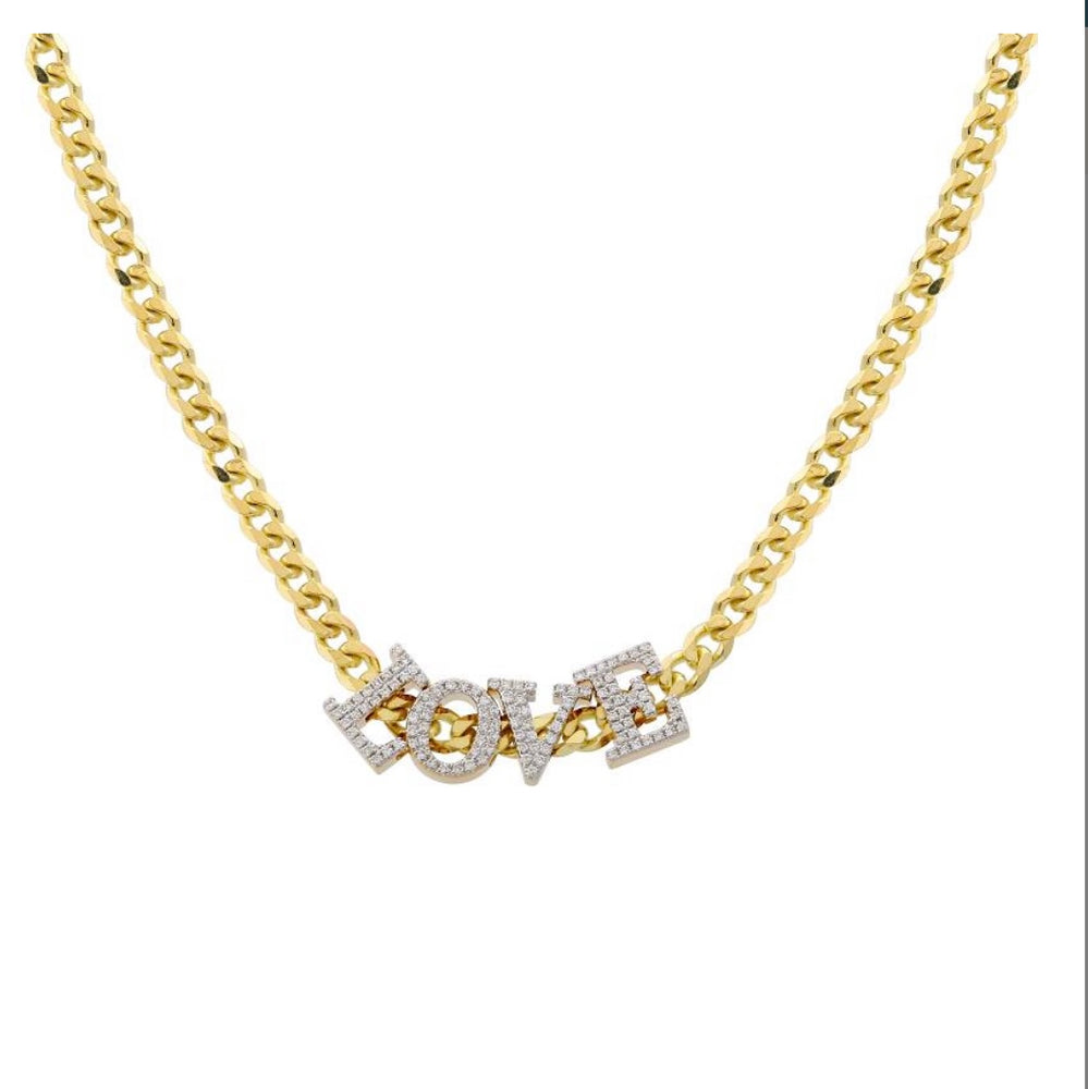 14KT Gold Diamond Sliding LOVE Necklace on Cuban Link Chain, NEW