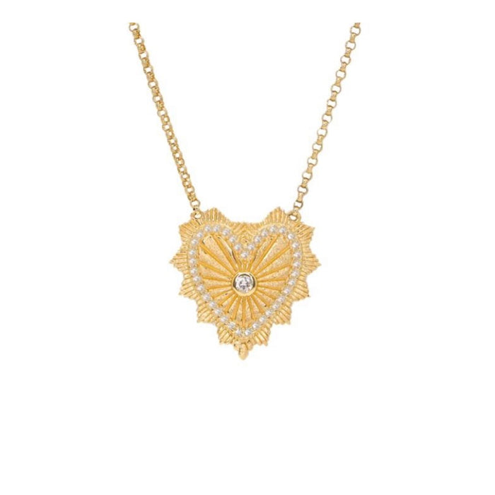 14KT Gold Diamond Celine Heart Necklace, New