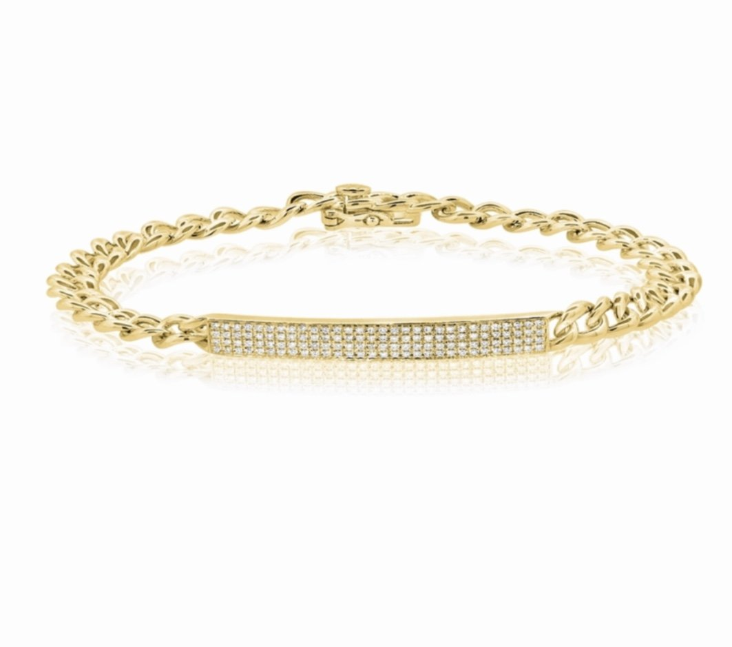14KT Gold Diamond ID Link Bracelet, NEW