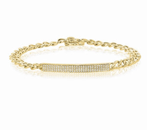 Load image into Gallery viewer, 14KT Gold Diamond ID Link Bracelet, NEW