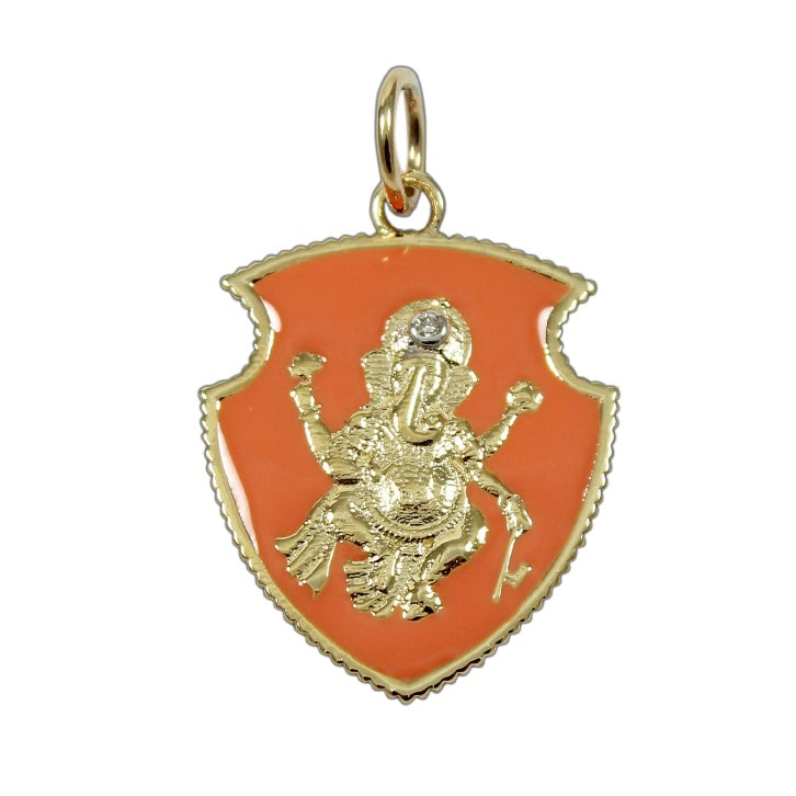 14KT Gold Diamond Ganesha Shield Pendant Charm, NEW