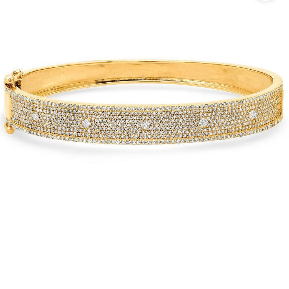 14KT Gold Diamond, Luxe Brilliance Bangle Bracelet