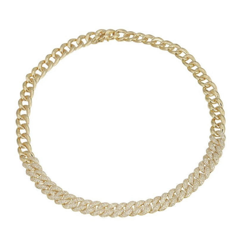 14KT Gold Diamond Jumbo Luxe Chain Link Necklace, New
