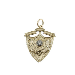 14KT Gold Diamond Shield Charm Pendant, NEW