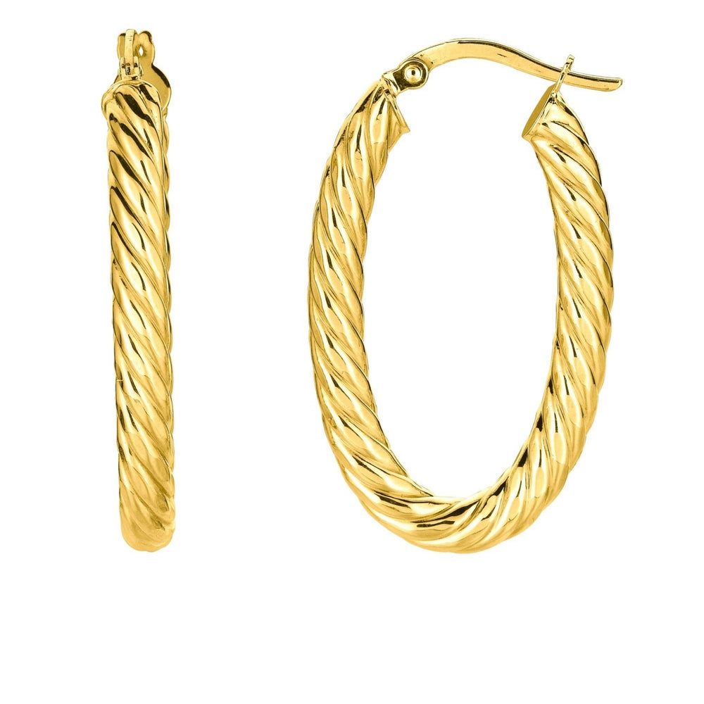 14KT Gold Twist Hoop Earrings, NEW