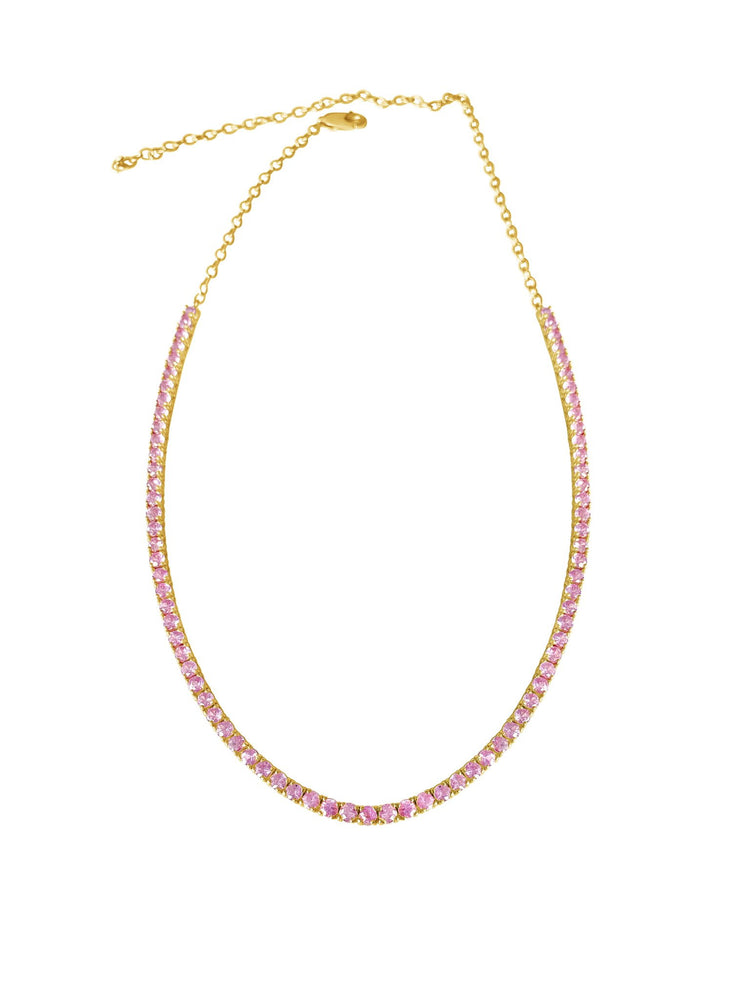 14KT Gold, Pink Sapphire Tennis Necklace, Best Seller!