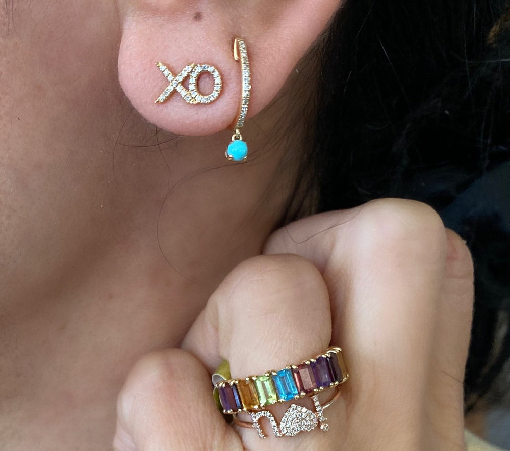 Load image into Gallery viewer, 14KT Gold Diamond Turquoise Drop Huggie Earrings