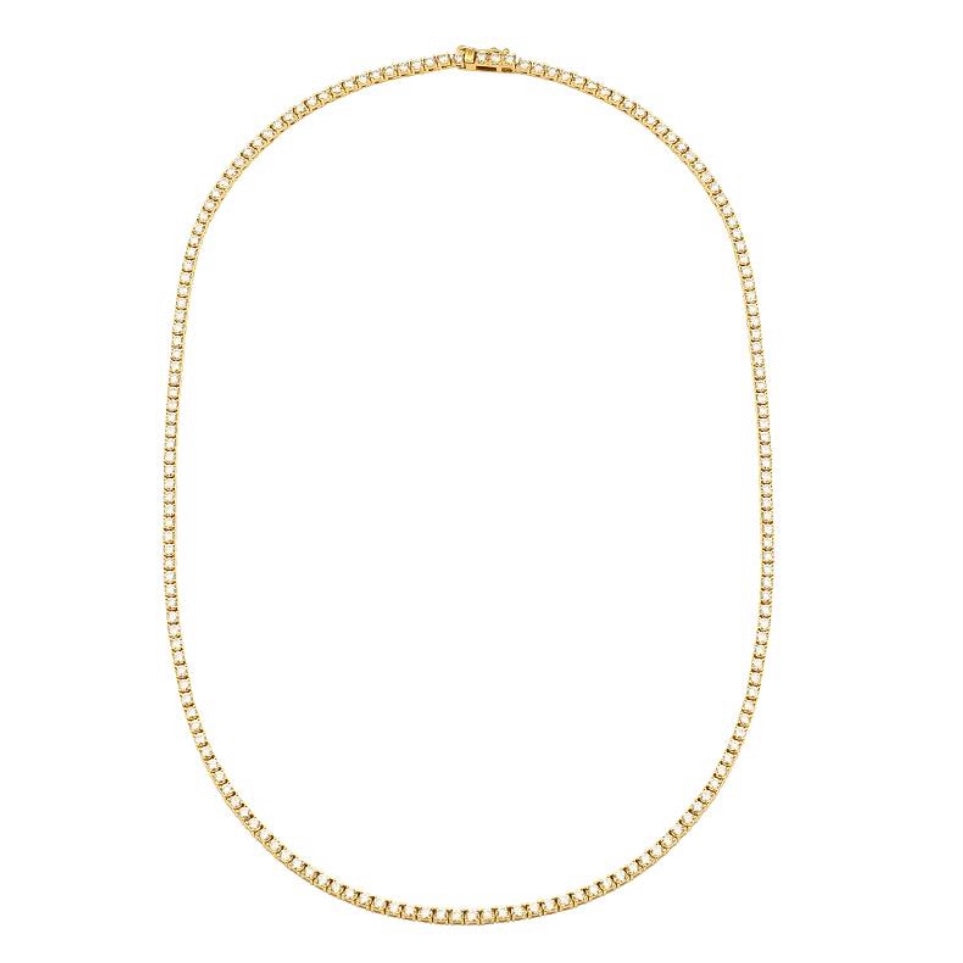 14KT Gold Diamond 4ct Perfect Tennis Necklace, NEW