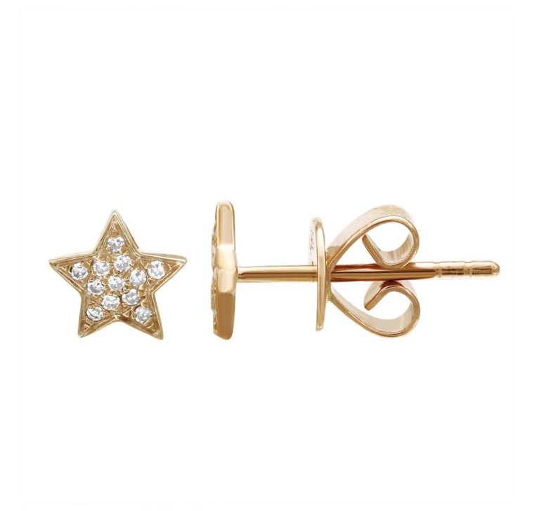 14KT Gold Diamond Star Stud Earrings, Nee