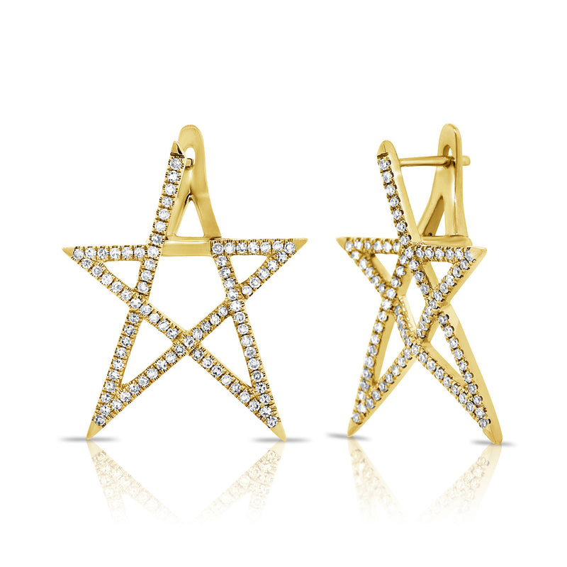 14KT Gold Diamond Celine Star Earring, NEW