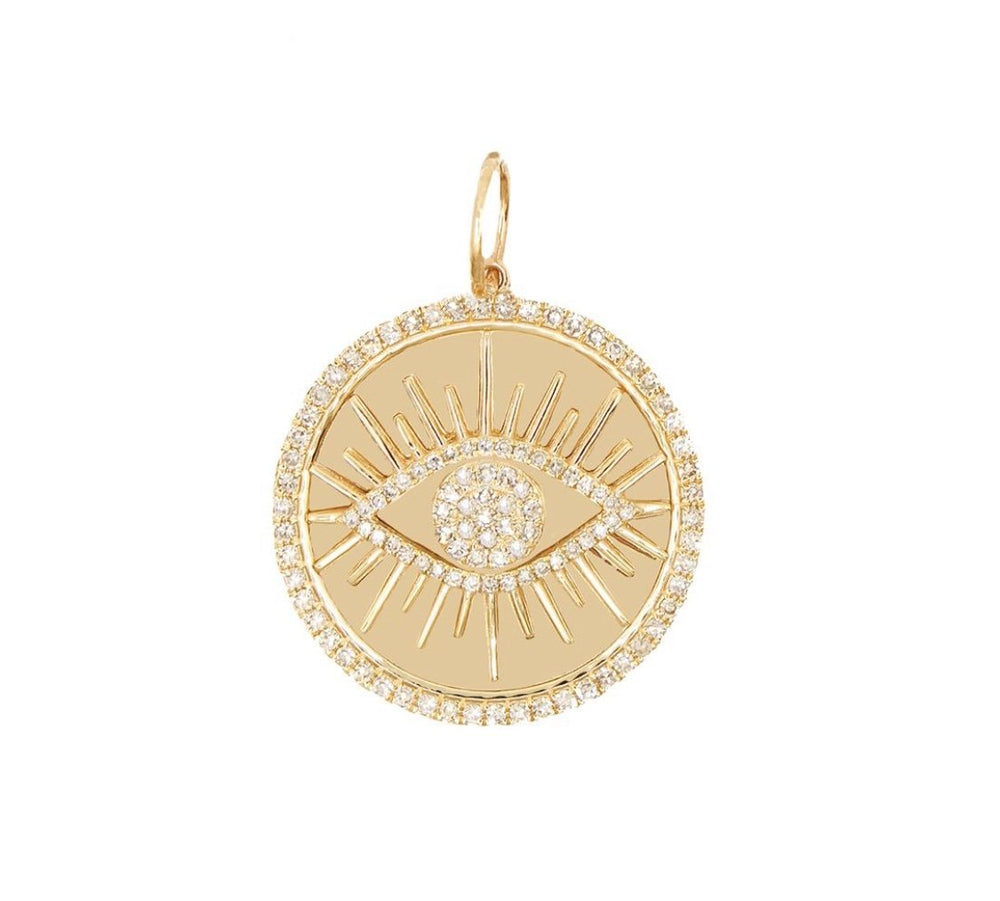 Load image into Gallery viewer, 14KT Gold Diamond Large Evil Eye Charm, Pendant, Back in Stock