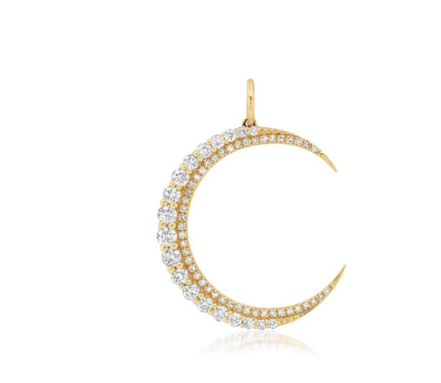 14KT Gold Diamond Luxe Crescent Moon Charm Pendant