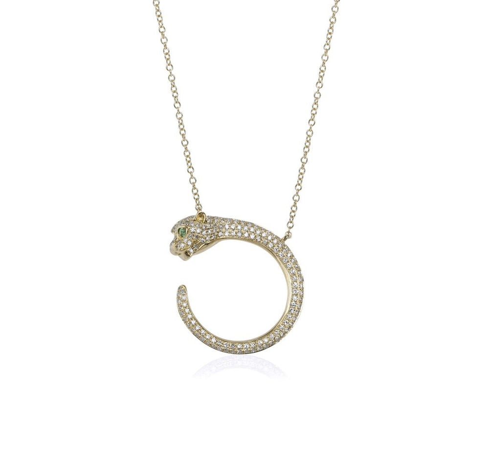 Load image into Gallery viewer, 14KT Gold Diamond Jaguar Necklace