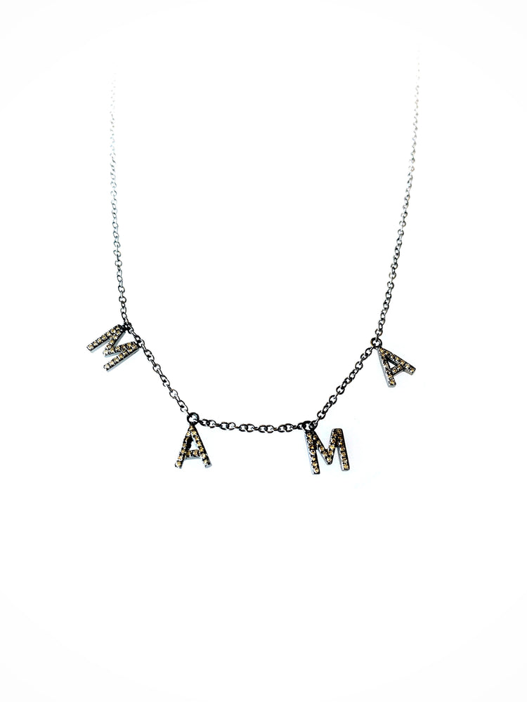 Black Rhodium Diamond Drop MAMA Necklace