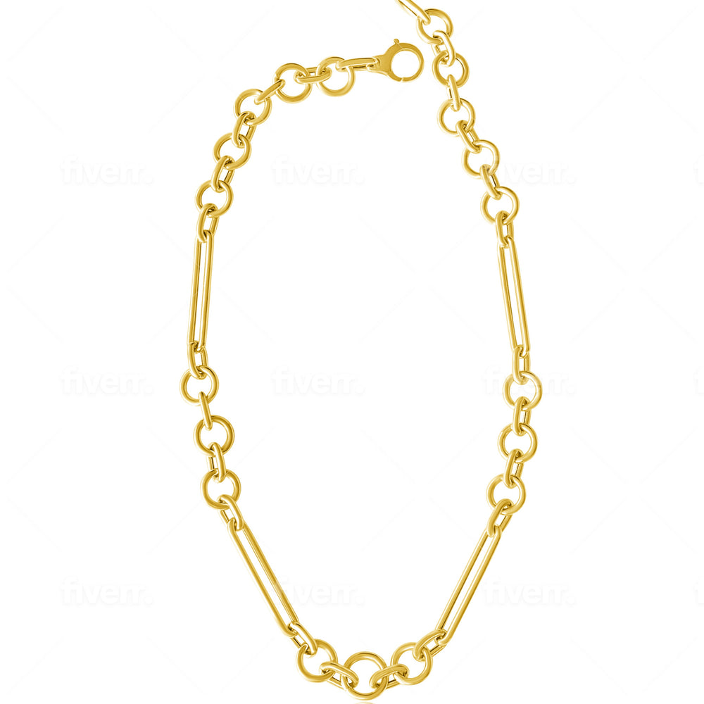 14KT Gold Multi-shape Jumbo Chain Necklace, NEW