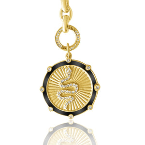 Load image into Gallery viewer, 14KT Gold Diamond Snake Disk Pendant Charm, NEW