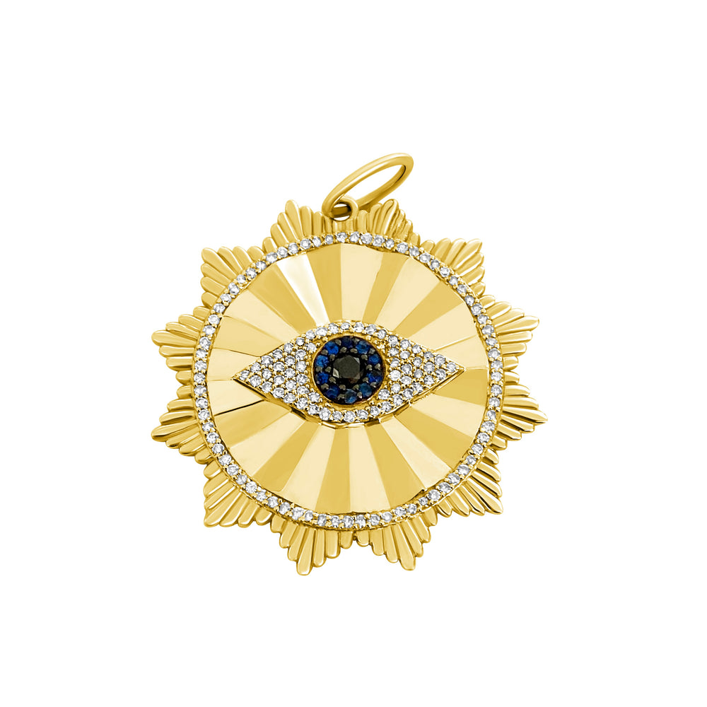 14KT Gold Diamond Jumbo Scalloped Evil Eye Pendant Charm, NEW