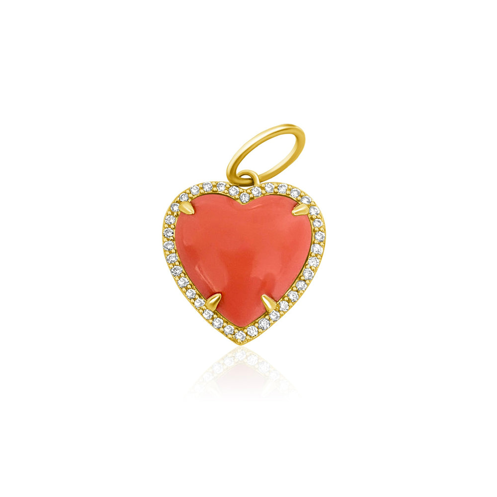 14KT Gold Diamond Coral Heart Pendant, Charm, NEW