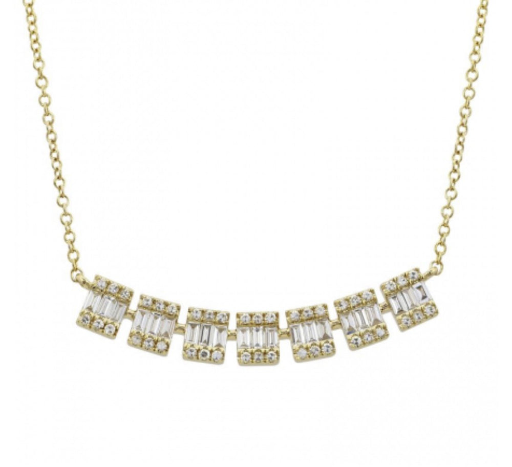 14KT Gold, Baguette Diamond Lucy Necklace