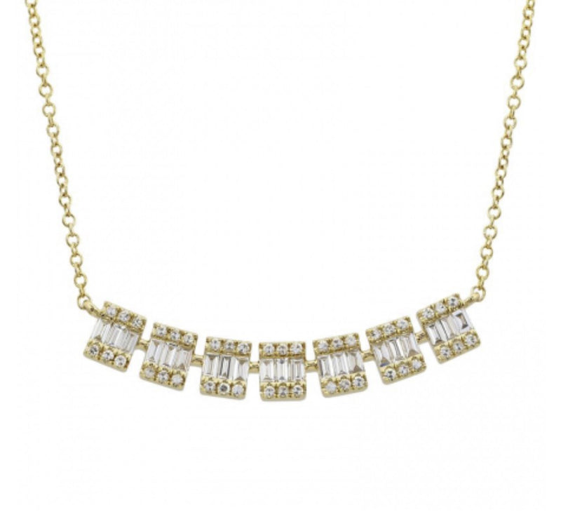 14KT Gold, Baguette Diamond Lucy Necklace, NEW