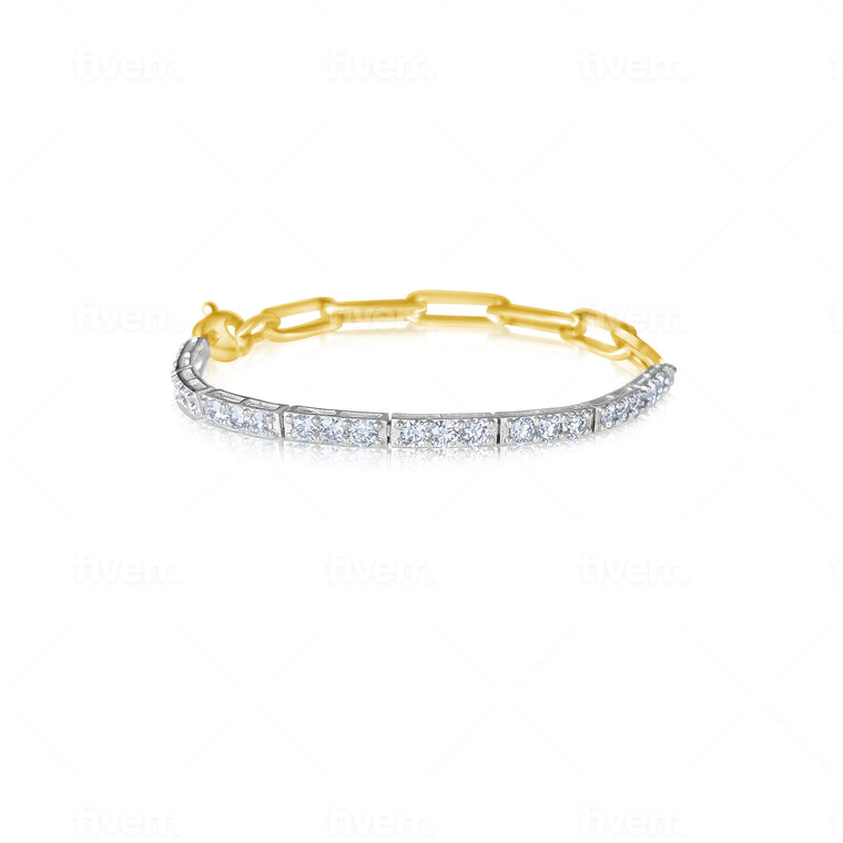 14KT Gold Diamond Tennis Bracelet on Chain, NEW AND BESTSELLER!