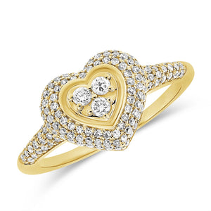 14KT Gold Diamond Viola Heart Pinky Ring, NEW