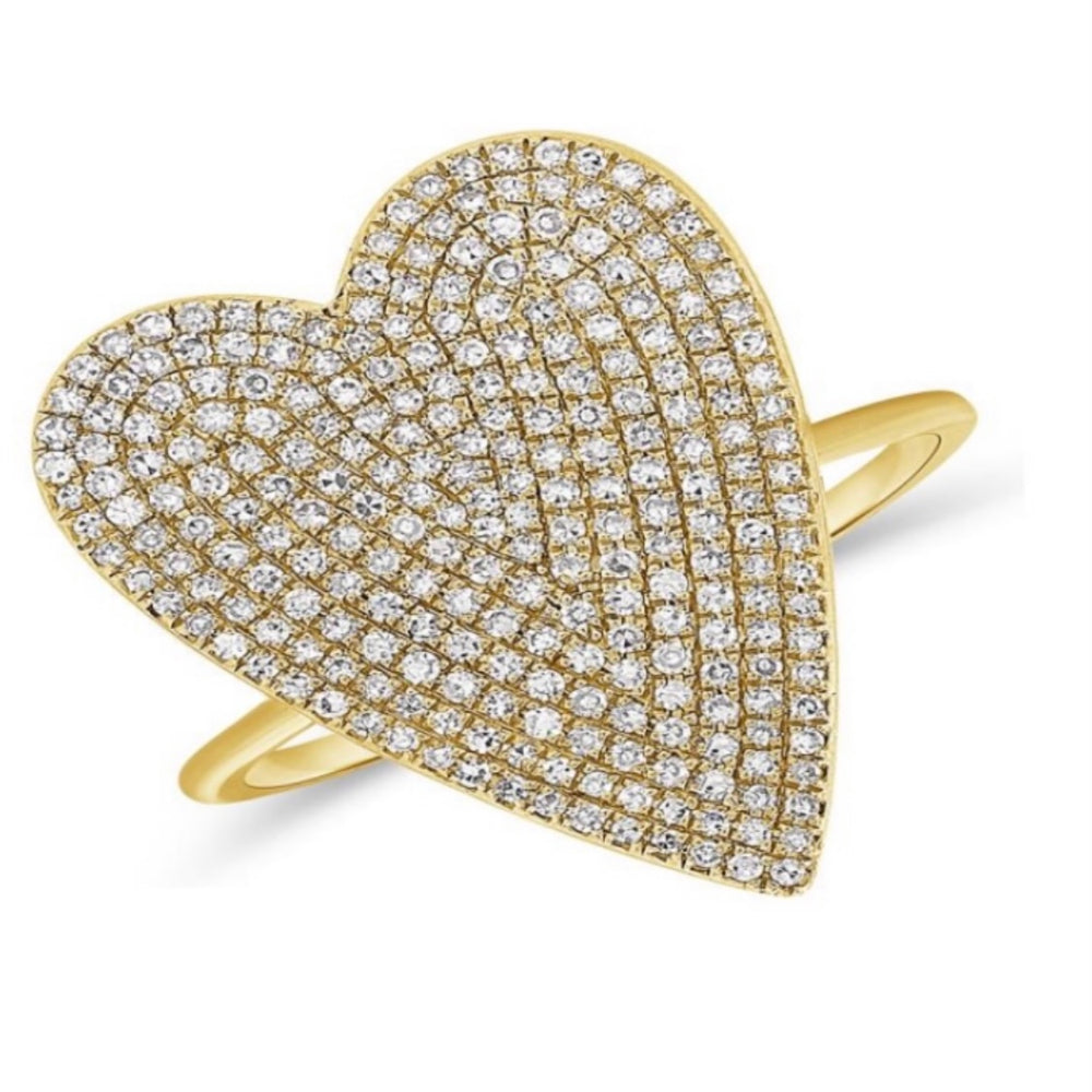 14KT Gold Diamond Jumbo Heart Ring, NEW