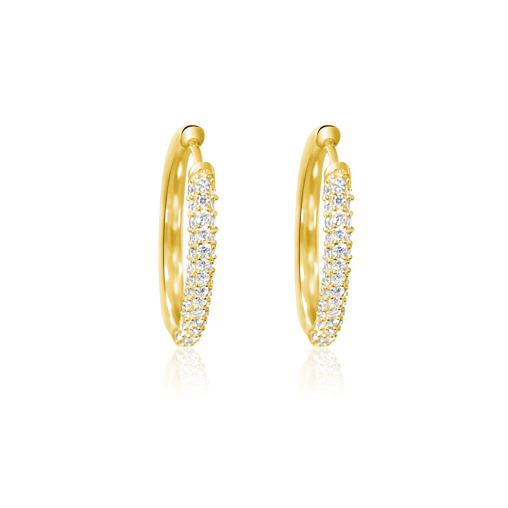 14KT Gold Diamond Oval Huggie Earrings, NEW