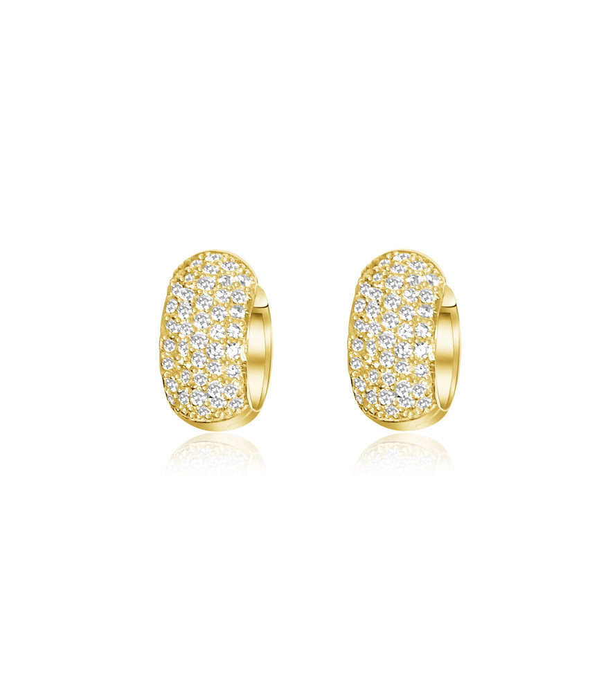 14KT Gold Diamond Gwyneth Huggie Earrings, Best Seller!