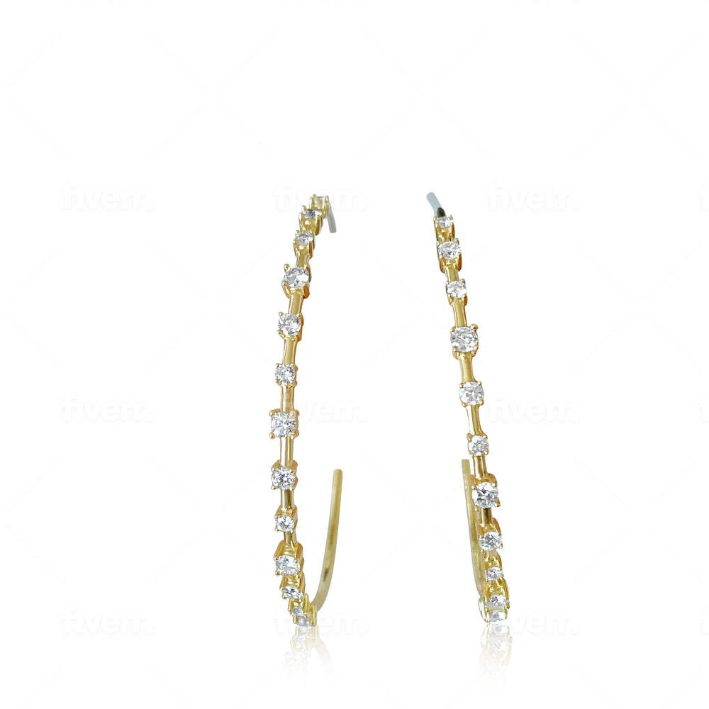 14KT Gold Diamond Cristy Hoop Earrings, NEW