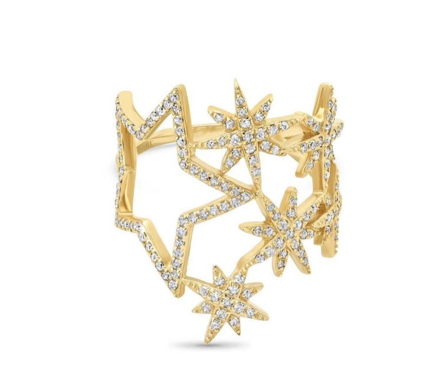 14KT Gold Diamond Star Cocktail Ring