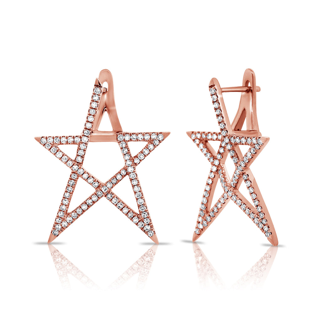 Load image into Gallery viewer, 14KT Gold Diamond Celine Star Earring, Best Seller!