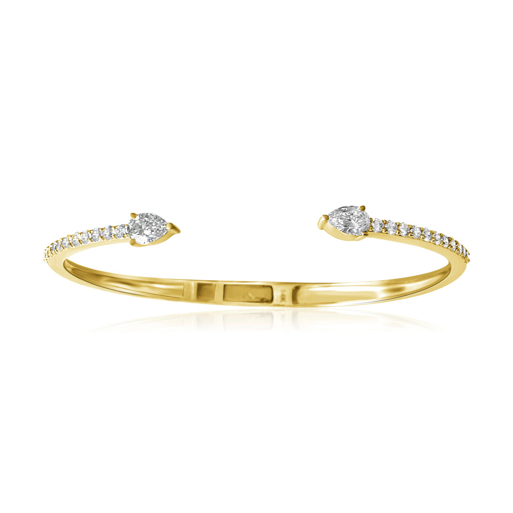 14KT Gold Pear Diamond Split Cuff Bracelet, NEW