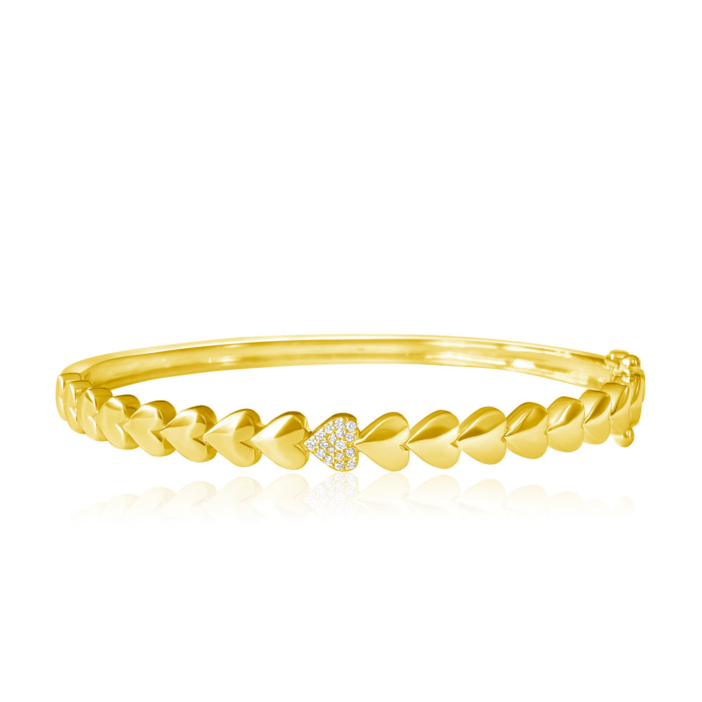 Load image into Gallery viewer, 14KT Gold Diamond Heart Bangle Bracelet, NEW