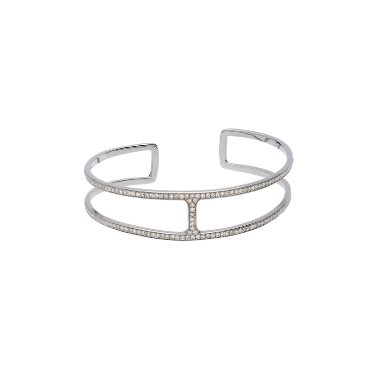 Diamond H-Open Bangle/Cuff