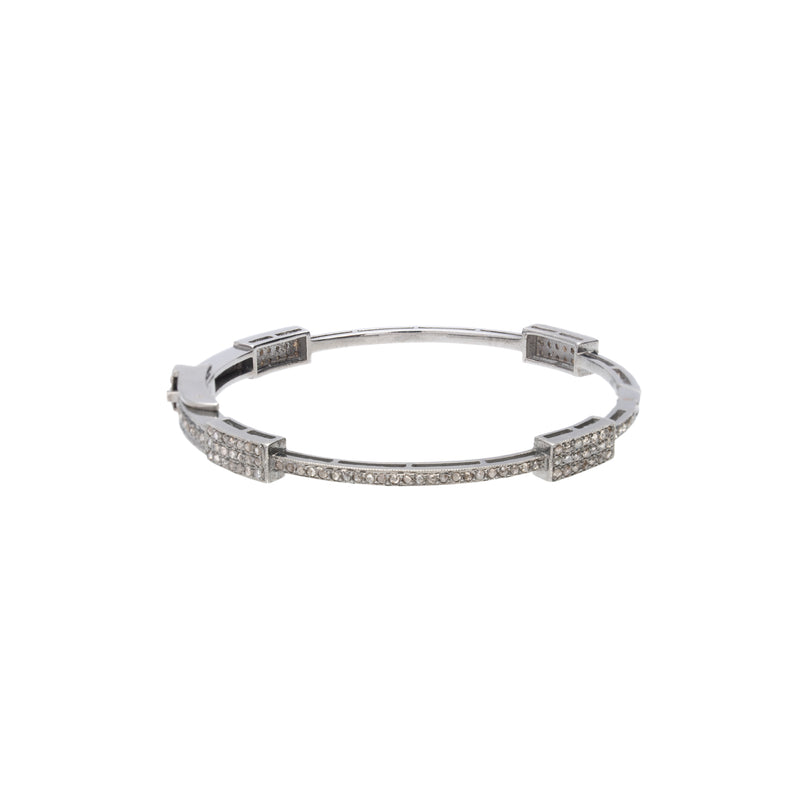 Quadruple Brick full pave Diamond Bangle
