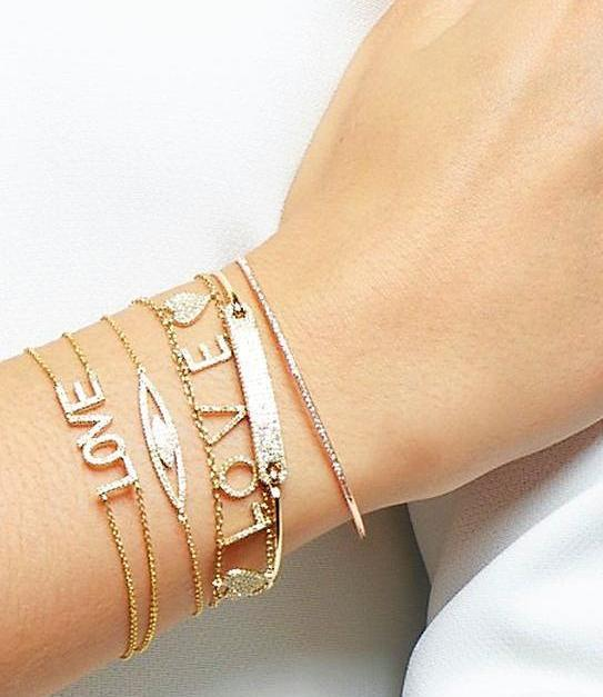 14K Yellow Gold Smaller LOVE Bracelet on Chain - DilaraSaatci