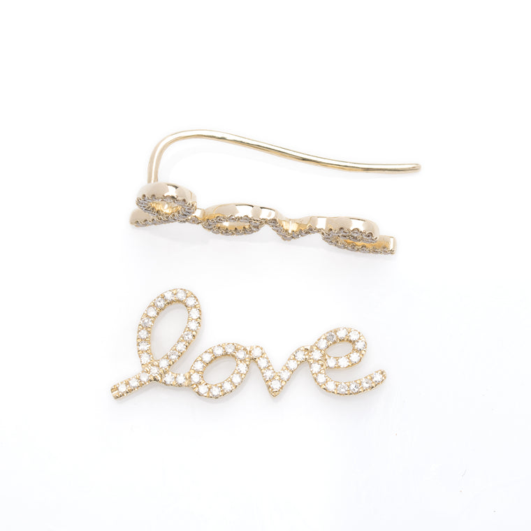 14K Diamond Love, Ear-crawler Wire Earrings