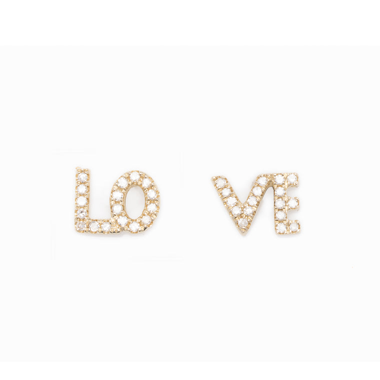 14K Gold Diamond LO VE Diamond Earrings