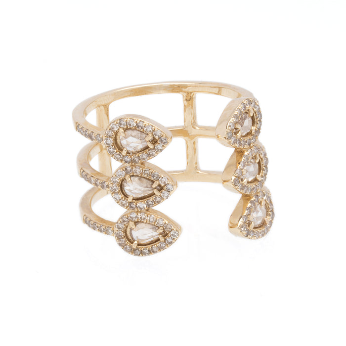 14K Yellow Gold Triple Sliced Diamond Electric Ring - DilaraSaatci
