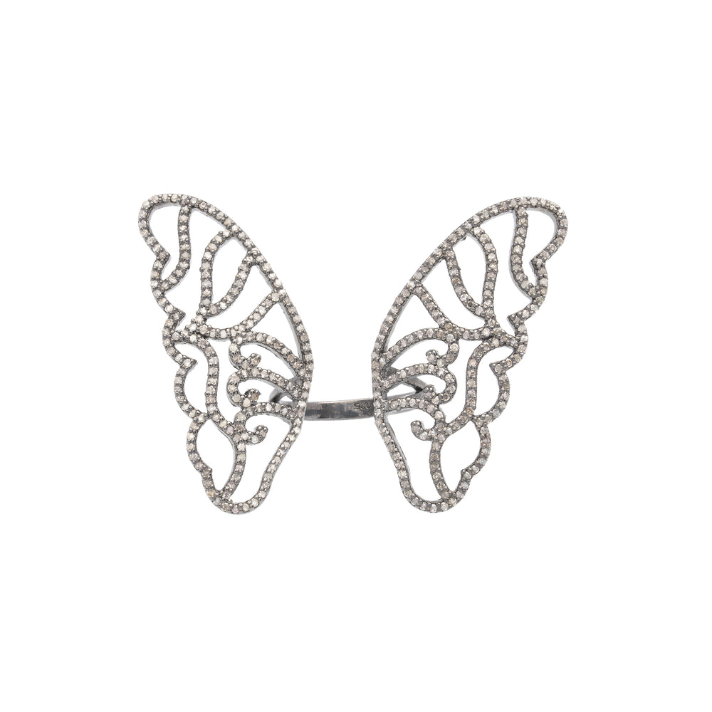 Black Rhodium and Diamond Butterfly Cocktail Ring, SALE - DilaraSaatci