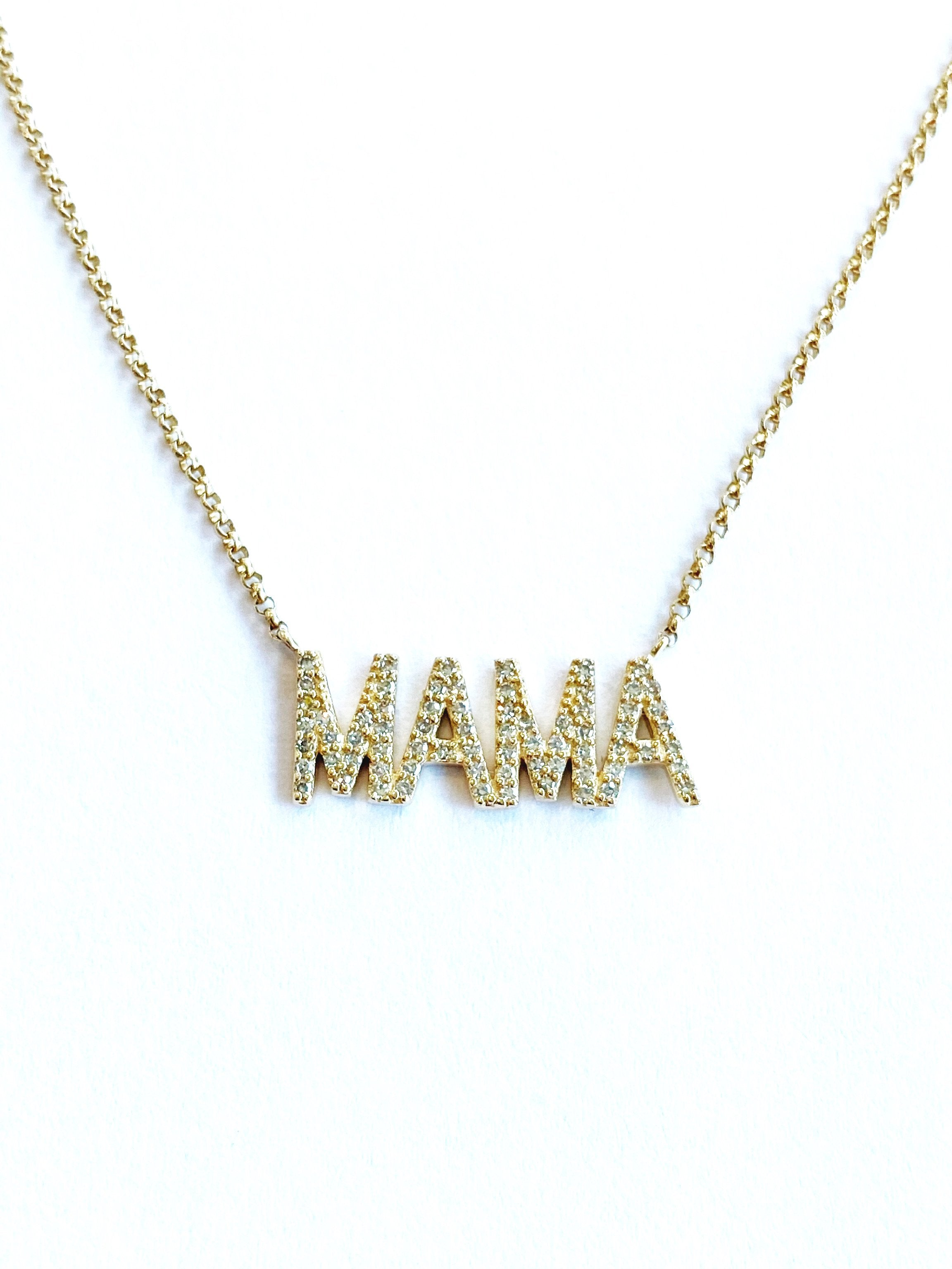 14KT Yellow Gold Diamond MAMA Necklace